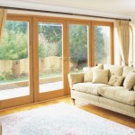 Pair of French doors with fixed sidelights manufactured in European oak