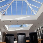 Rectangular double hipped roof lantern with white painted interior finish